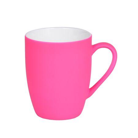 Caneca em porcelana rosa soft touch 350ml Lyor