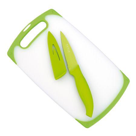 Conjunto de tábua e faca em aço inox verde Kenya