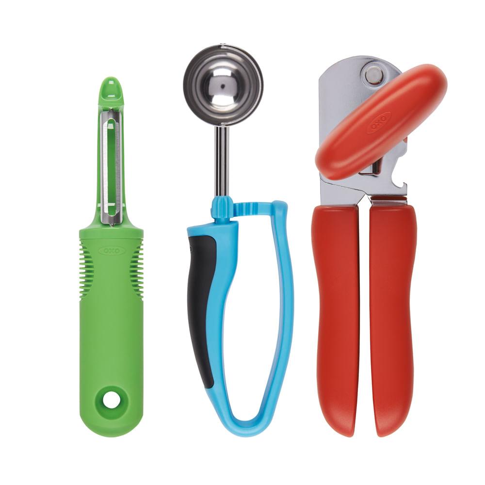 Conjunto De 3 Utens Lios Para Cozinha Em A O Inox Colorido  ~ Itens Essenciais Para Cozinha