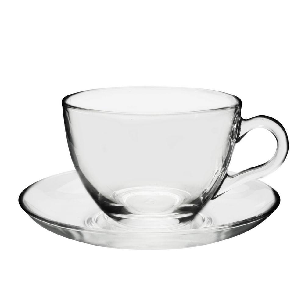 Xícara para Chá com Pires em Vidro 238ml Basic