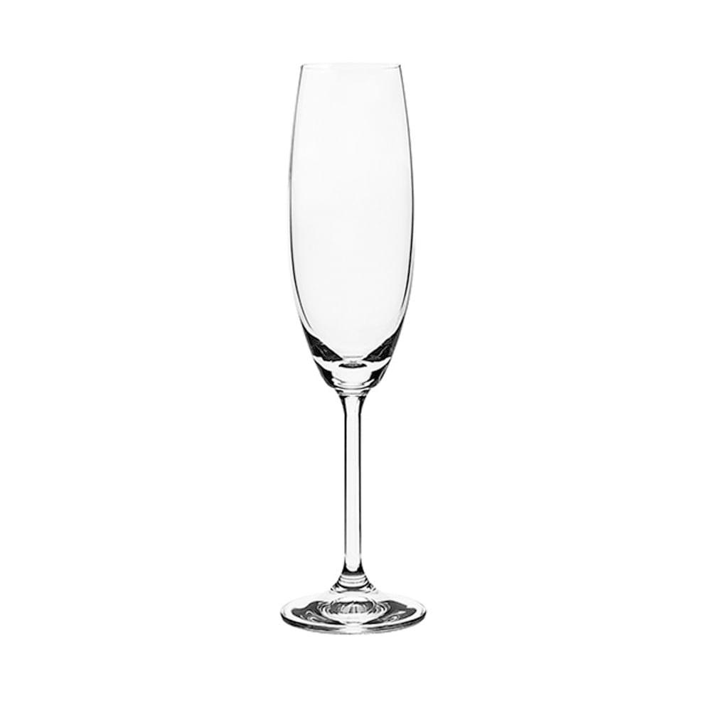 Conjunto de 6 Taças para Champagne em Vidro Cristalino 220ml  Roberta Bohemia