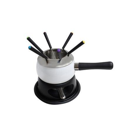 Aparelho para fondue em aço esmaltado branco - 11 peças
