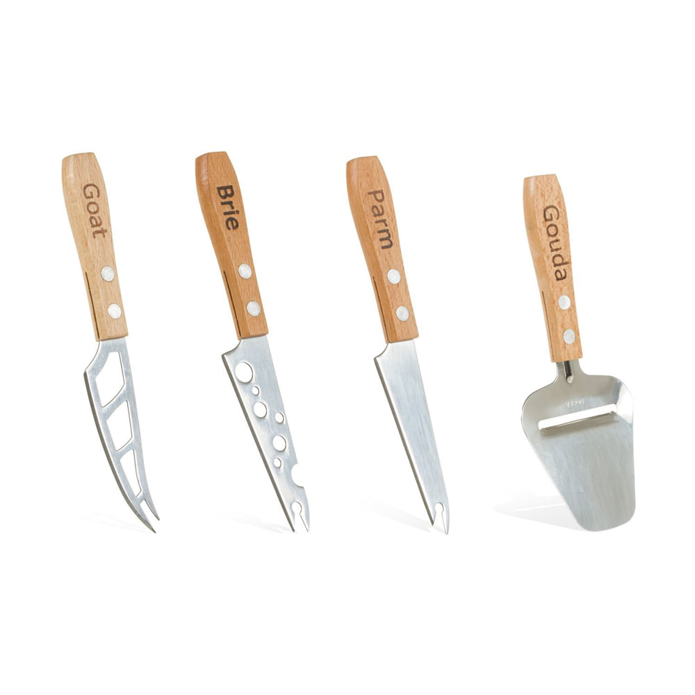 Conjunto de 4 Facas para Queijo em Madeira Boska