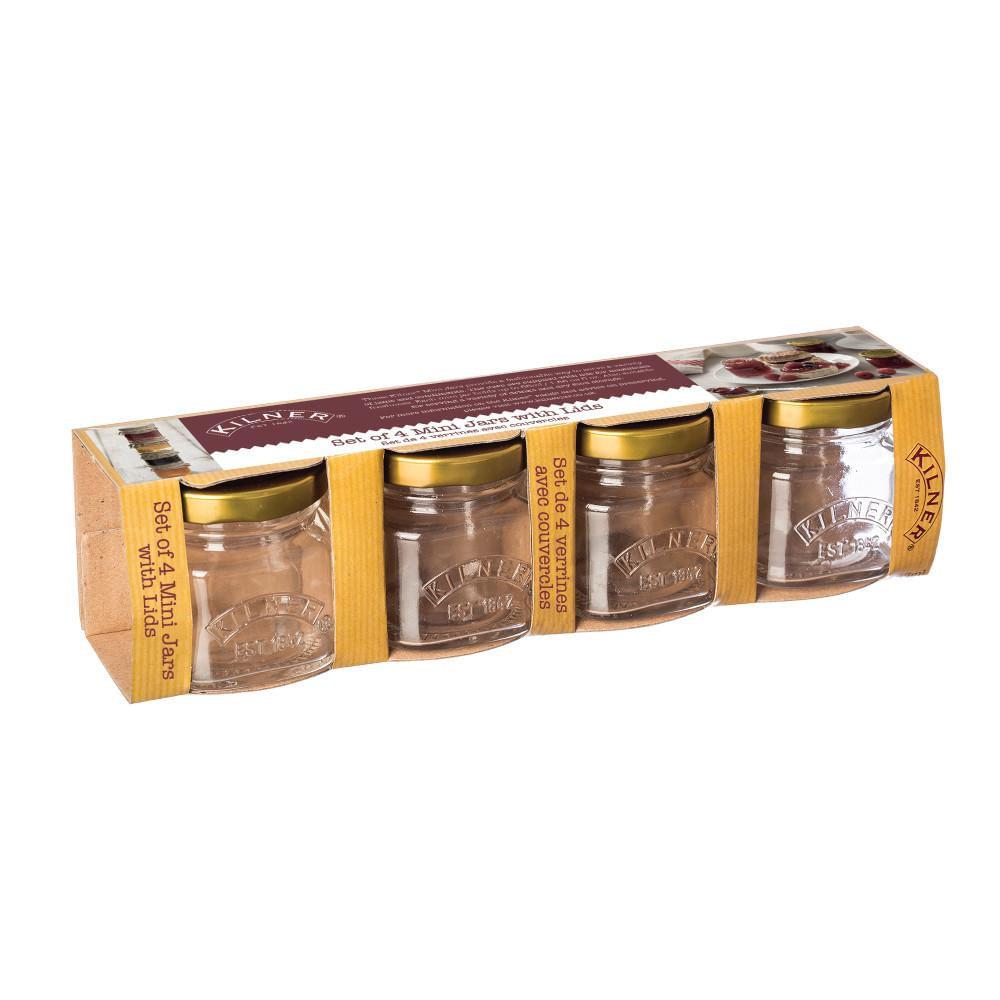Conjunto de 4 Mini Potes em Vidro 55ml Kilner