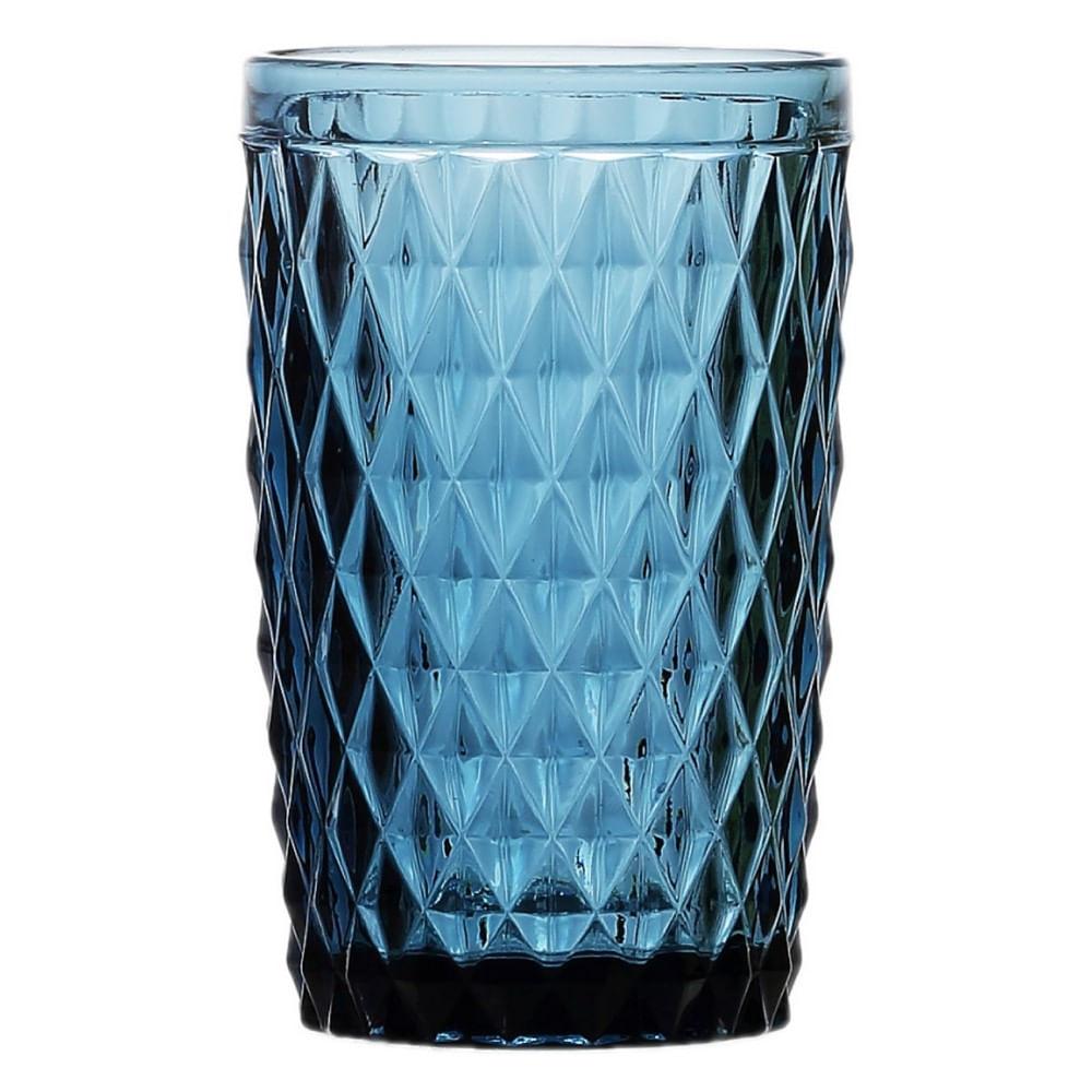 Conjunto de 6 Copos Altos em Vidro Bico de Abacaxi 330ml Lyor Azul