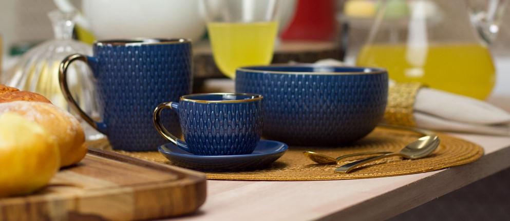 Conjunto com 4 Xícaras de Café Snake em Porcelana 90ml Rojemac Azul