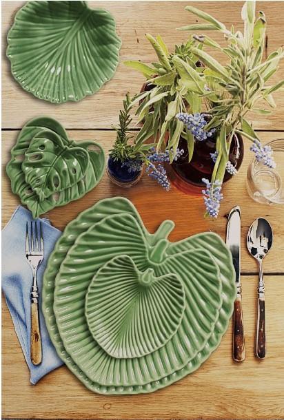 Travessa Leaves em Cerâmica 32cm Scalla Verde