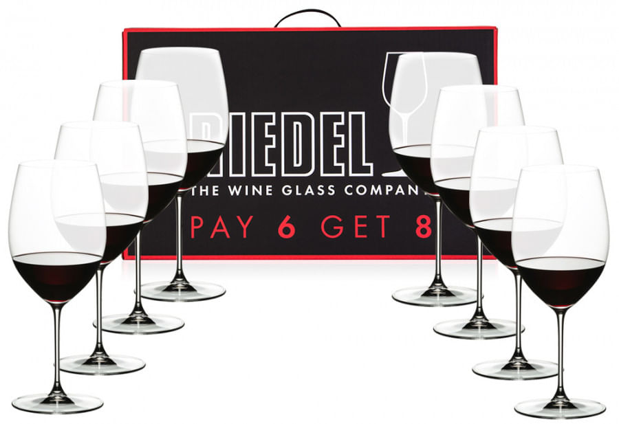 Conjunto com 8 Taças para Vinho Tinto Veritas Cabernet/Merlot 625ml Riedel