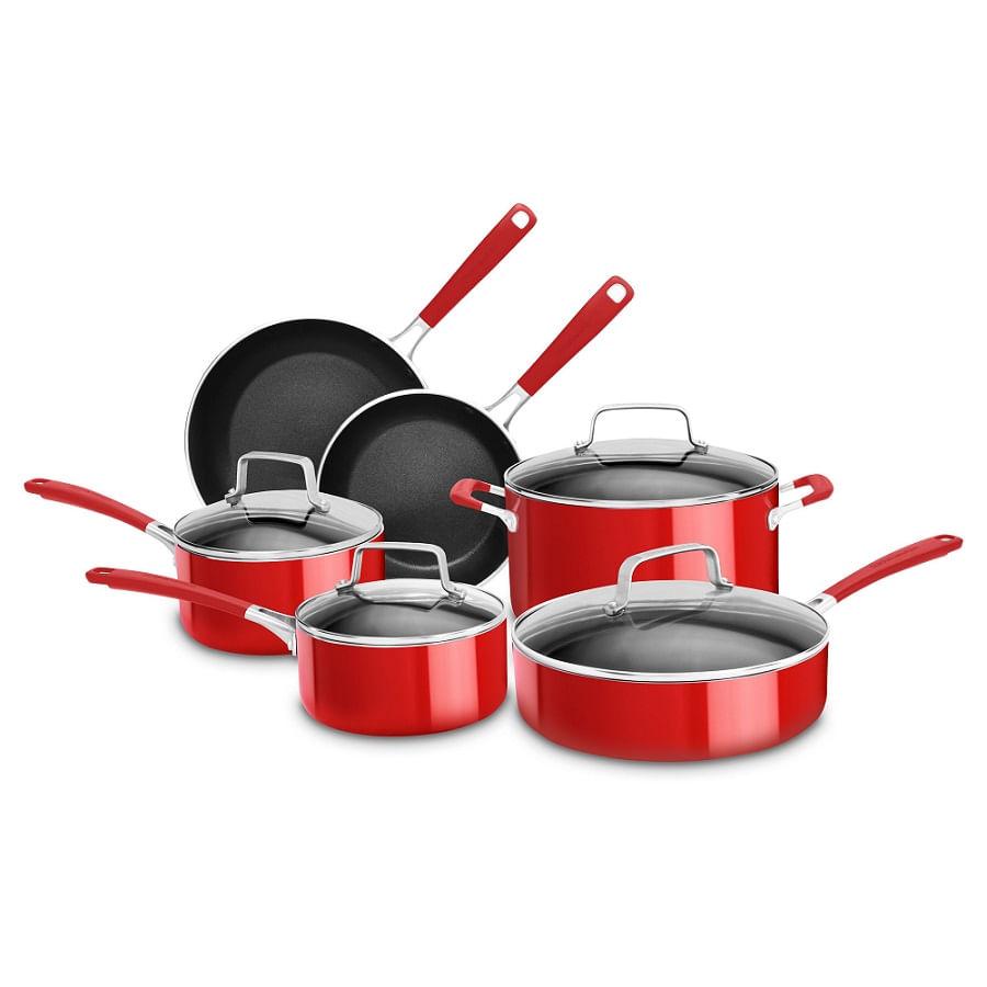 Conjunto de 6 Panelas em Alumínio KitchenAid Vermelho