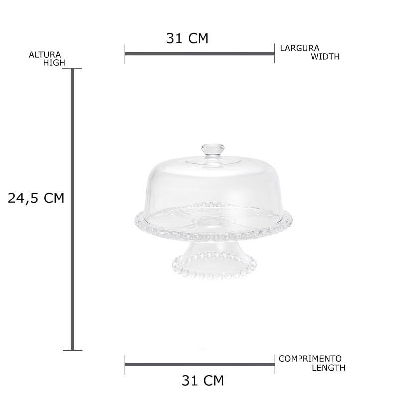 Prato para Bolo Pearl Cristal 31cm Rojemac