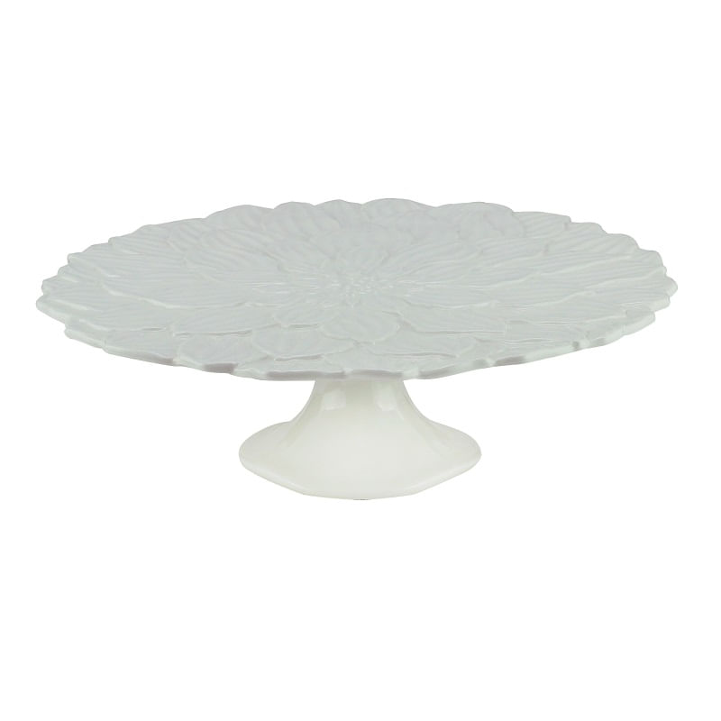 Prato para Bolo em Porcelana Wolff Daisy Rojemac Branco