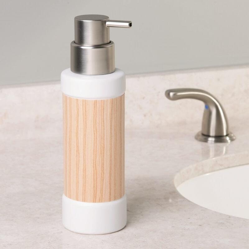 Porta Sabonete Liquido em Cerâmica Realwood Hudson Branco