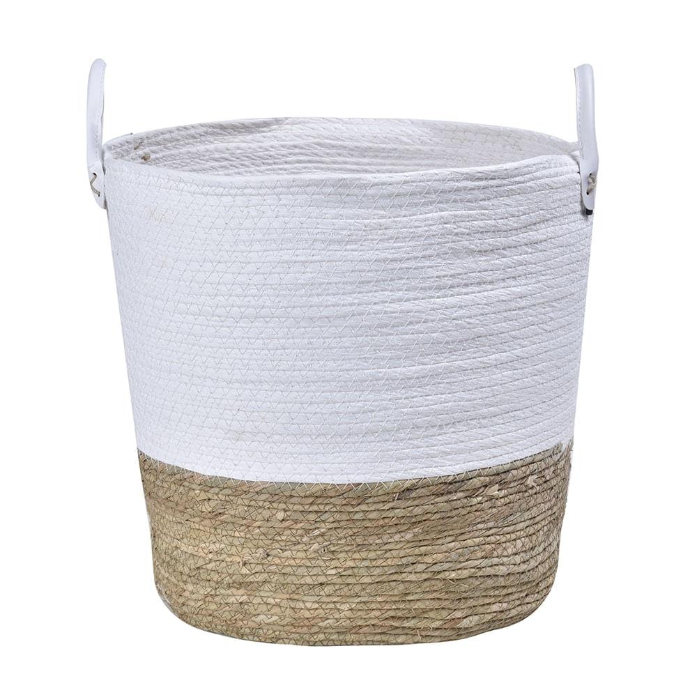 Cesto em Seagrass com Alça em Couro 37x38cm Enjoy Branco