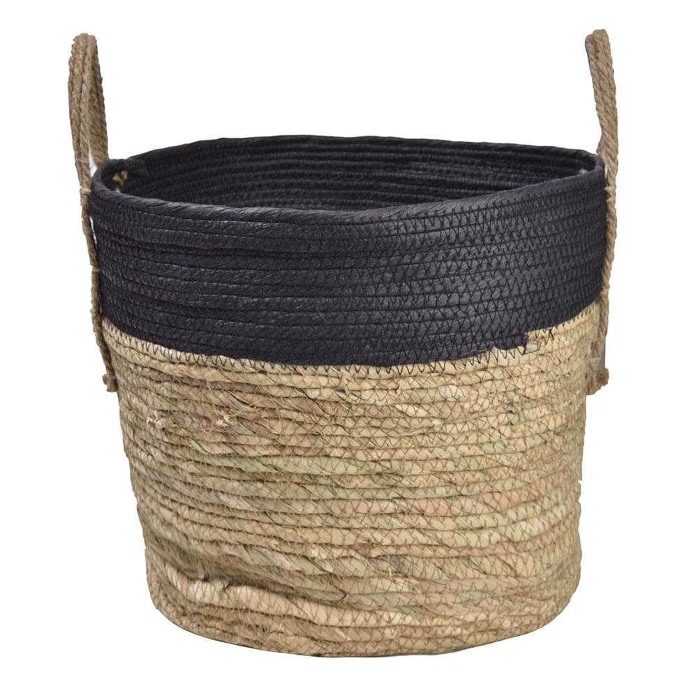 Cesto em Seagrass com Alça 20x27cm Enjoy Marrom/Preto